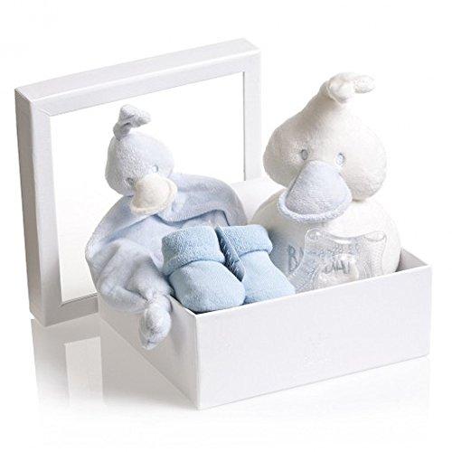 BAM BAM Boîte Cadeau Nouveau Bébé Garçon Bleu avec couverture Confort, Chaussons, anneau de dentition et doux en peluche canard