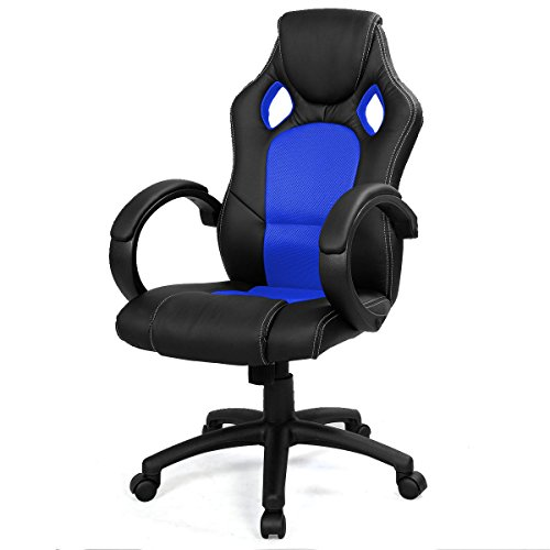UBRTools High Back Race Car Style Bucket Seat Office Desk Chair Gaming Chair Blue New
