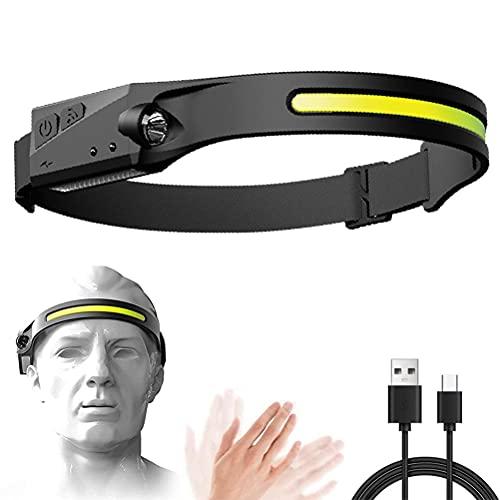 Linterna frontal, iluminación de 230°, COB con LED de inducción, resistencia al agua IPX6, 5 modos de luz, carga USB para correr al aire libre, pesca