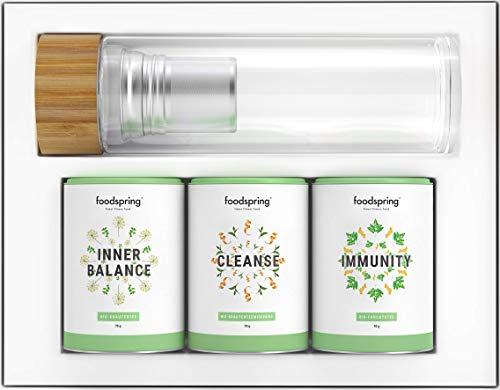 foodspring Bio Infusi Benessere, Set Tisane Balance & Protection, 3 x 70g, incl. termobottiglia