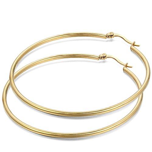JewelryWe Schmuck Damen Ohrringe, 54mm Edelstahl große Poliert Creolen Ohrhänger, Gold