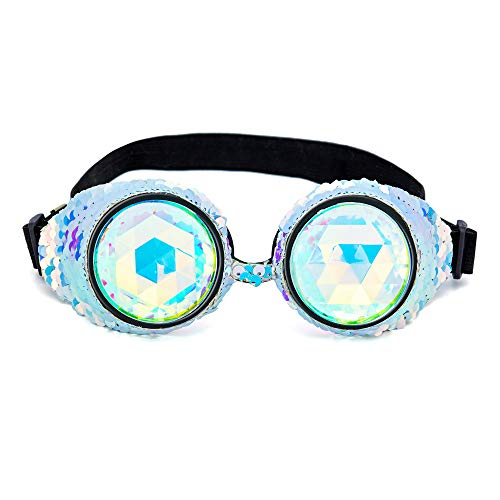 Kaleidoscope Rave Goggles Steampunk Glasses with Rainbow Crystal Lenses Cosplay