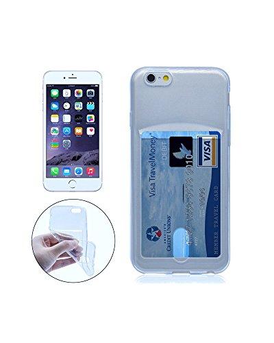 Funda Compatible iPhone 5 / 5S / SE de Apple con Tarjetero Carcasa para Tarjetas (Silicona Gel Transparente Azul), Funda de TPU de Alta Resistencia y flexibilidad. Diseño Exclusivo de Diirihiiri