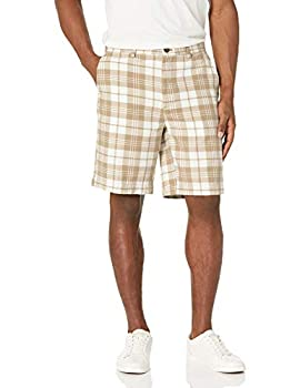 Amazon Essentials Men s Classic-Fit 9  Short Khaki Plaid 36