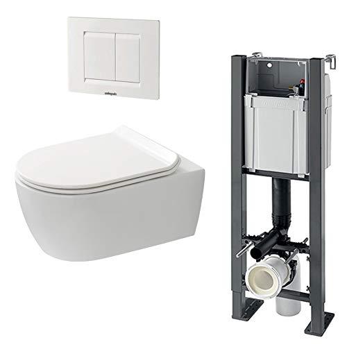 Pack complet WC suspendu sans bride SANEO : Bâti-support + Cuvette sans bride + Abattant + Plaque 3/6 L