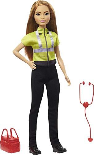 Barbie Quiero Ser Paramédica, muñeca profesiones médico con accesorios de juguete (Mattel GYT28)