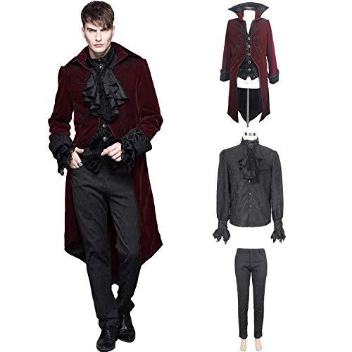 Devil Fashion Wine Red Velvet Vintage Gothic Victorian Prom Party Style 3-Pieces Tailcoat Shirt Pants Set Suit for Men (Large)