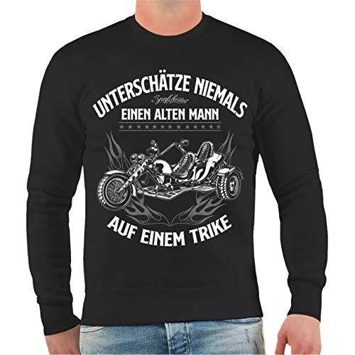 FELDWEGHEIZER Männer und Herren Sweatshirt Triker Unterschätze Niemals einen Alten Mann auf einem Trike Größe S - 4XL