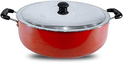 Wonder Non Stick Aluminium Stew Pot with Stainless Steel lid Heavy Duty, 3 mm Thickness, Small 2.5 LTR (Red)