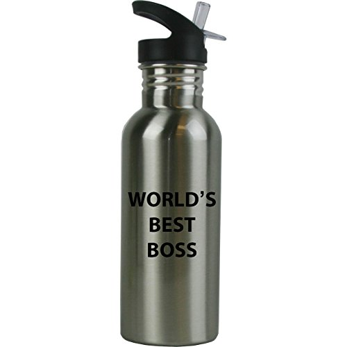 Engraved Cases World's Best Boss Stainless Steel Sublimation Water Bottle with Straw Top 20 Ounce 600ml Sport Water Bottle - Birthday for Boss Bosses