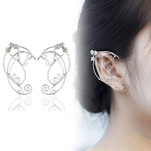 Yushu - Puos de oreja de elfo, pendientes de clip, borla de ala de filigrana Elven Wrap, sin clip de hueso de oreja perforado, pendientes de hada, disfraz de fantasa de boda para cosplay