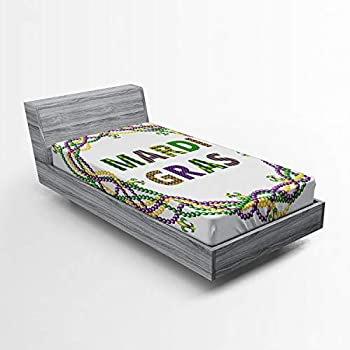 Ambesonne Mardi Gras Fitted Sheet Vivid Beads Circular Frame with Lettering Traditional Patterns Print Soft Decorative Fabric Bedding All-Round Elastic Pocket Twin Size Yellow Purple