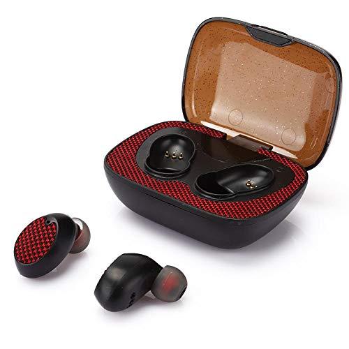 Draadloze koptelefoon koptelefoon, Bluetooth 5.0 koptelefoon koptelefoon met elektrische hoeveelheid indicator LED met 600mAh lading voor hardlopen / wandelen / rijden / kantoor. (Rood)