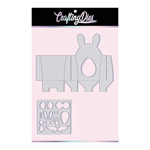 Crafting Dies Troquel con forma de conejo de Pascua, de primavera y Pascua, caja de conejo, para guardar peladillas, troqueles metálicos Thinlits