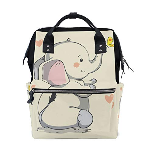 ColourLife Diaper Bag Backpack Pretty Smiling Elephant Casual Daypack Multi-Functional Nappy Bags