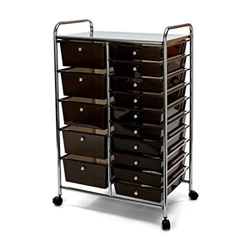 Seville Classics 15-Drawer Multipurpose Mobile Rolling Utility Storage Organizer Cart, Black