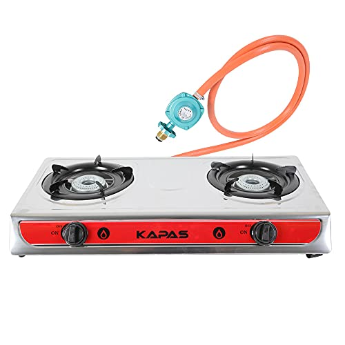 Outdoor & Indoor Countertop Propane Stove, Double Burners with Gas Premium Hose for Backyard Kitchen, Camping Grill, Hiking Cooking, Outdoor Recreation