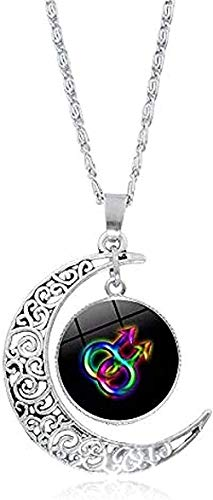 NC110 Necklace Men S Necklace Gay Pride Rainbow Flag Po Glass Cabochon Necklace Silver Crescent Moon Pendant Statement Necklace Women Lover Gifts Gifts Pendant Necklace Gift for