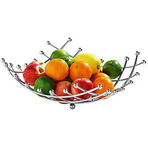 ABRUS- Fruit Bowl Basket Storage Bowl Spiral Design Chrome Wired Fruit Bowl Twisted, Spiral Design Fruit Basket, Modern Style Stainless Steel Chrome Plated Fruit & Veg Basket Storage Bowl