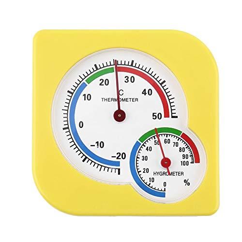 WS-A7 Mechanischer Hygrometer für Innen- und Außenbereich, Mini-Hygrometer, feuchte Feuchtigkeit, Thermometer, Temperaturmessgerät, Gelb