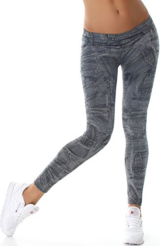 Ximanyi dames stoffen leggings jeans-look print jeggings zacht motief (36/38)