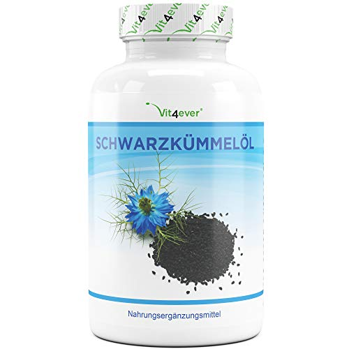 Vit4ever® Schwarzkümmelöl - 420 Kapseln - 1000 mg pro Tagesportion - Laborgeprüft - 7 Monatsvorrat - Kaltgepresst - Naturbelassen - Hochdosiert - natürliches Vitamin E