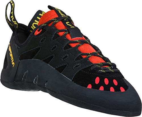 La Sportiva Men's Tarantulace Rock Climbing Shoes, Black/Poppy, 43.5