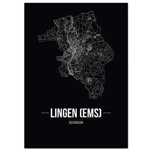 JUNIWORDS Stadtposter - Wähle Deine Stadt - Lingen (Ems) - 21 x 30 cm Poster - Schrift B - Schwarz
