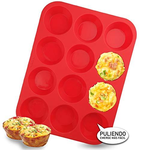 Walfos Molde de Horno para Muffin Silicona 12 Cavidades Antiadherente Bandejas para Hornear Magdalenas para Muffins, Cupcake, Brownie, Budín