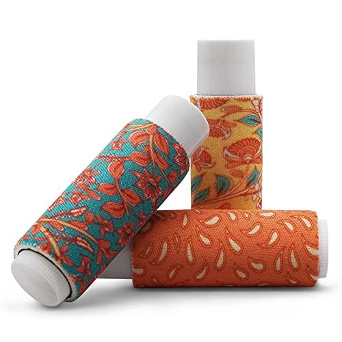 Balm Buddies Clip-On Lip Balm Holder -Practical Storage Sleeve for Balms & Sticks - Easy Twist Open Top & Bottom - Metal Clip for Bags, Purses, Keys - Fashionable Designs, Multi-Pack - PoP