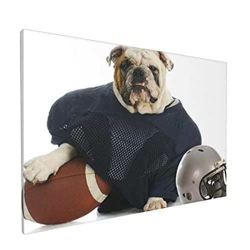 PATINISA Perro de deportes de bulldog ingls disfrazado de Painting Cuadro sobre Lienzo Canvas Wall Art para Colgar Impresin de la Lona 45x30cm