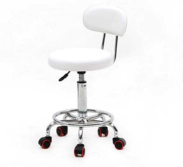Rainrain27 Round Stool Round Shape Adjustable Massage And Salon Stool With Back And Line White Multi Purpose Drafting Medical Spa Stool