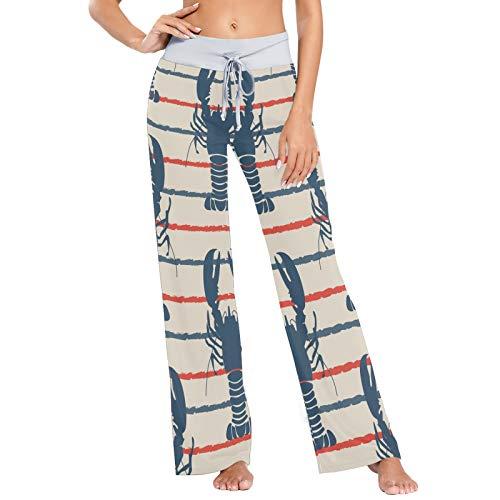 Pantalones de Pijama cómodos con cordón para Mujer Pantalones de Yoga de Pierna Ancha Casuales M Retro Marine con Langosta