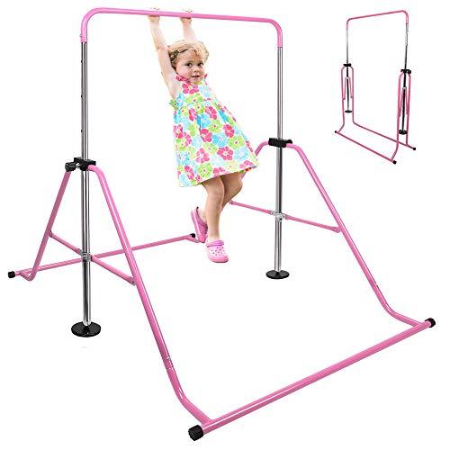 VANELL Gymnastics Bars Adjustable Height 2.8-4.5FT Athletic Expandable Kip Balance Bars Jungle Indoor Play Gym Junior Training Monkey Horizontal Bar (Pink)
