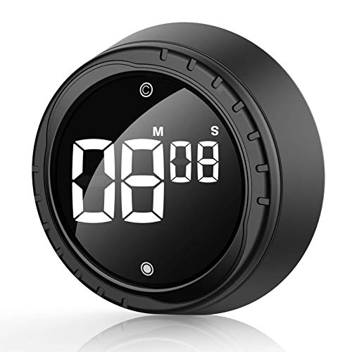 Eprestar Timer Reloj Despertador de Cocina Digital Temporizador de Huevo Magnético Negro, Reloj Despertador de Corta Duración con Gran Pantalla LCD, Ideal para Cocinar, Hornear, Hacer Deportes, etc.