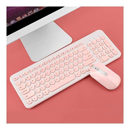 Keyboard Spielen 2.4G Wireless Gaming Maus-Tastatur-Kombination USB-Empfänger Mute Tastatur Mini-Maus Laptop Computer-Tastatur-Maus (Colore : Pink)