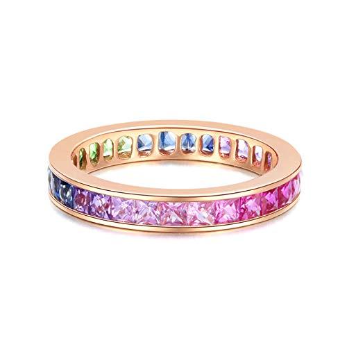 Bishilin Damen Ring 750 Verlobungsring Regenbogen Quadrat 2.18 CT Saphir Rosegold Ringe Diamant Ect für Hochzeit Größe 56 (17.8)