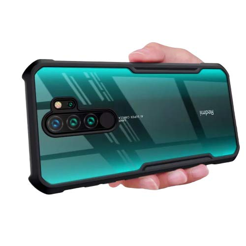 MOBIKIT Back Cover for Redmi Note 8 Pro Transparent Hybrid Hard PC Back TPU Bumper Impact Resistant Case (Black, Transparent)