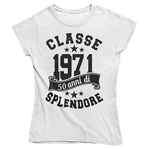 Vulfire Maglietta Donna Idea Regalo per Compleanno, Classe 1971 50 Anni di splendore, Festa dei 50 Anni (Bianco, XL)