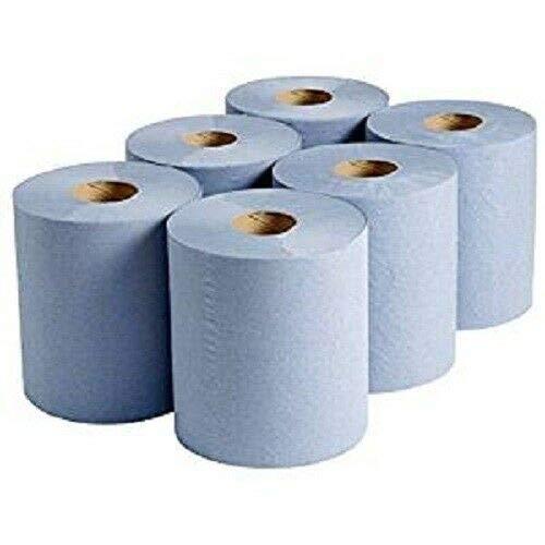 KING KARAN ® Blue 6 X Paper Rolls - 2 Ply Embossed Centre Feed - Hand Kitchen Towel Tissue Rolls UK Seller