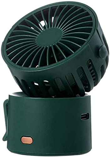 wgkgh Mini wentylator ręczny przenośny do biura domu na zewnątrz w podróż, ładowanie USB, wbudowana bateria pulpit, może być wietrzyony w górę i w dół w temperaturze 45° (zielony)