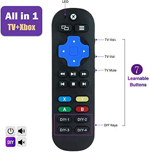 UniversalRemoteControl forXboxOne,XboxOneS & XboxOneX,Standard IR Remote Control with 7 More Learning Keys to Control TV, Soundbar Receiver All in one (Black)
