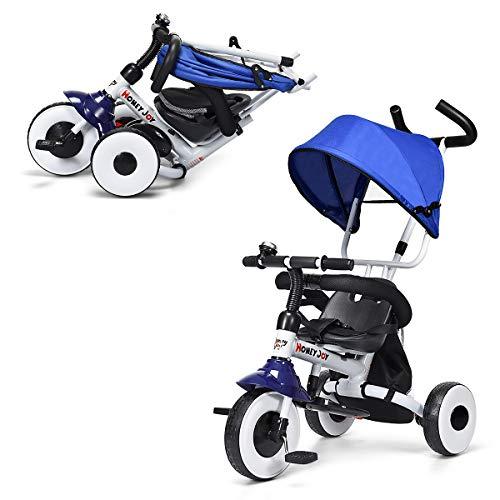 GOPLUS 4 in 1 Dreirad, Kinderdreirad Klappbar, Tricycle ab 1 Jahre bis 5 Jahre, Kinderfahrrad Kinderwagen Schiebewagen, Farbwahl (Blau)