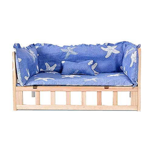 JLXJ Large Medium Small Elevated Dogs Bed, Solid Wood Frame, Washable Mattresses and Cushion, for Indoor Outdoor Winter Warm, Summer Cooling (Color : Biue-1, Size : 96×56×39cm)