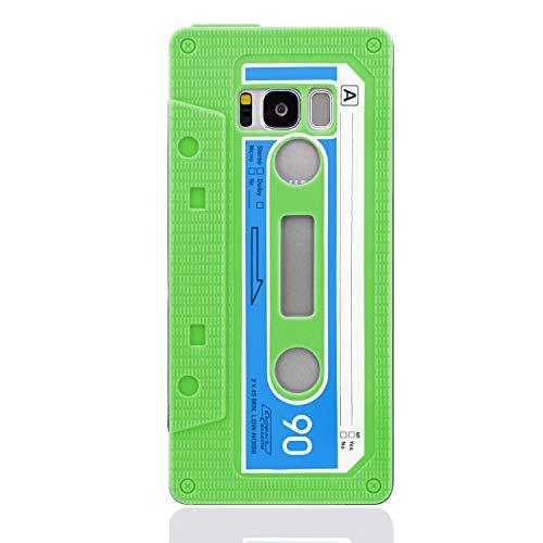NewTop Cover Compatibile per Samsung Galaxy S8/S8 Plus, Custodia Morbida TPU Cassetta Disegno retrò Gel Silicone Posteriore (Verde per S8)