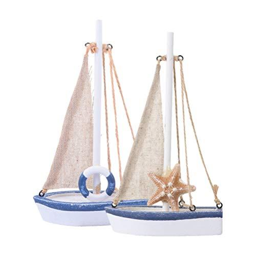 WINOMO 2 Stück Nautische Hölzerne Pazifische Segel Segelboot Modell Home Holiday Tischdekoration Geschenke für Erwachsene Und Kinder
