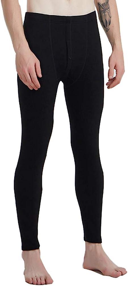 Men's Fleece Lined Thermals Bottom Long Johns Underwear Base Layer Soft Thick Black XXXL