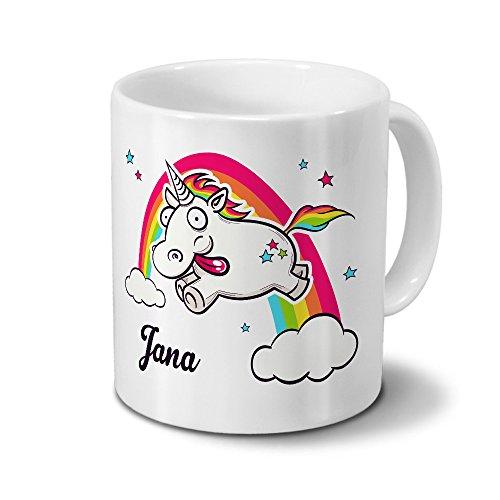 printplanet Tasse mit Namen Jana - Motiv Verrücktes Einhorn - Namenstasse, Kaffeebecher, Mug, Becher, Kaffeetasse - Farbe Weiß