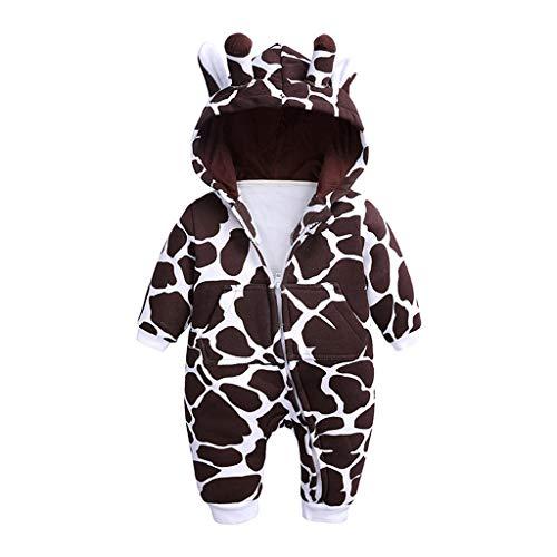 Hui.Hui Combinaison BéBé Body Crawl Costume Veste en Coton Chaud avec Girafe de Bande dessinéE à Capuche