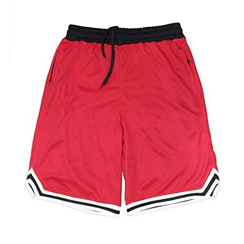 Burkashear Pantalones cortos deportivos de entrenamiento de gimnasio para hombre, entrenamiento de correr, botines con cordón, cinturón elástico, pantalones de playa, de secado rápido rojo L